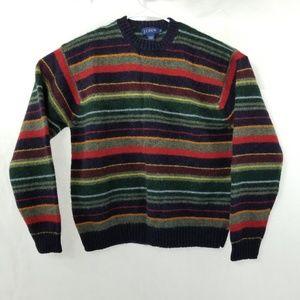 J. Crew Multicolor Striped Wool Sweater XL